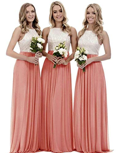 Lace Bridesmaid Dresses Long a-line Chiffon Evening Gown Wedding Party Womens 2019 Coral 18