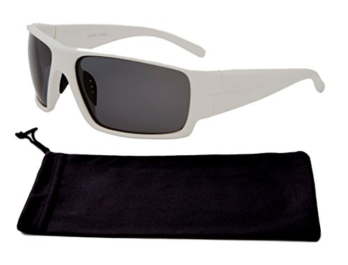 Great Polirized Wrap Around White Rectangle Frame Smoke Tinted Lens Durable Cool Deal Branded Hippie Style Sporty Athletic Driving Wayfarer Travel Men Sunglasses Gift Idea (White Frame - Latest Branded Sunglasses
