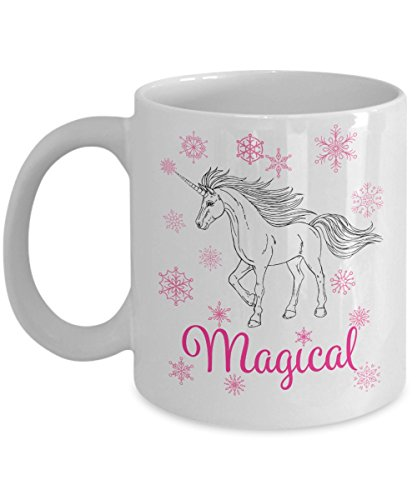 Magical Unicorn with pink snowflakes mug - pretty 11oz cup for birthdays, Mother's Day, Christmas gift and anniversaries