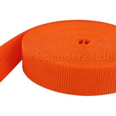 UV orange 15mm breit 10m PP Gurtband 1,4mm stark
