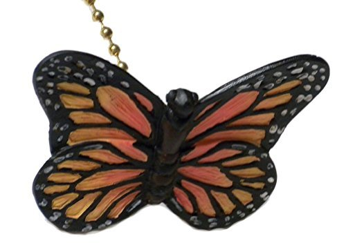 Monarch Butterfly Ceiling Fan Pull-Yellow Orange Black-3D Design ()