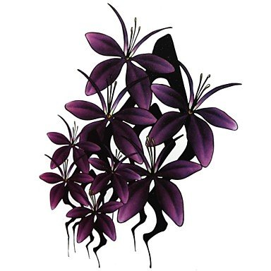 1 Pcs Waterproof Large Purple Flowers Pattern Tattoo Stickers