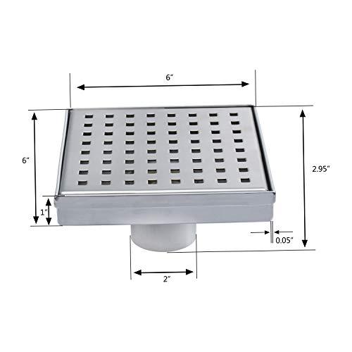 Fryotuc Rustproof Shower Drain 6 Inch Bathroom Floor Drain Brushed Shower Drain Cover with Quadrate Pattern by Fryotuc (Image #5)