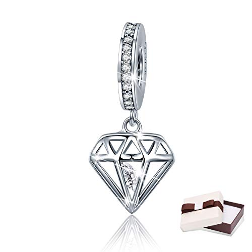 BAMOER Charm Sterling Silver Diamond Love Charms Pendant for Charms Bracelet