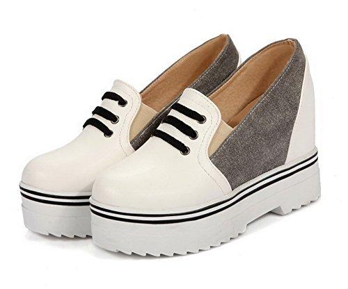 AllhqFashion Damen Weiches Material Ziehen auf Rund Zehe Hoher Absatz Pumps Schuhe Grau