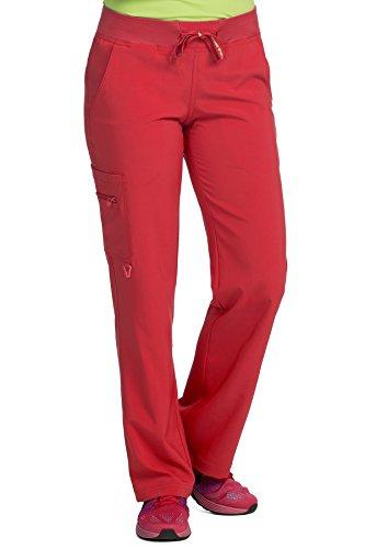 (Med Couture Scrub Pants Women, Yoga Cargo Pocket Scrub Pant, Large, Red)
