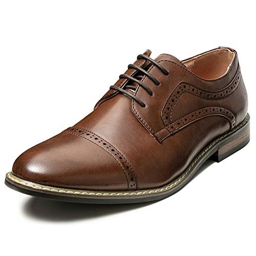(Men's Classic Cap Toe Lace-up Brogue Oxford Dress Shoes (7 M US, Brown8) )