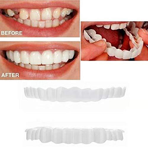 Top and Bottom Cosmetic Veneers Instant Smile Braces Snap on Smile Fake Teeth Denture Teeth One size Cosmetic Teeth Fit Flex Cosmetic Teeth Denture Veneer Teeth Whitening Kit (The Best Snap On Veneers)