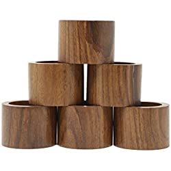 Shalinindia Table Dinner Decoration Handmade Party Decor Wooden Napkin Rings Set of 6 For Daily Use Dinners Parties-Diameter 1.75 Inch