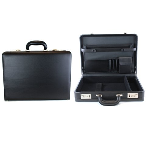 "Heritage Travelware Vinyl Single Compartment 17.3"" Laptop Case with Secure Combination Lock Briefcase Black One Size"