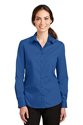Port Authority Ladies SuperPro Twill Shirt. L663 True Blue L ()