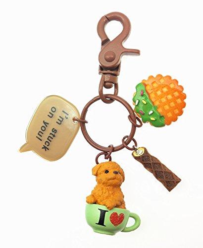 TOSPANIA Adorable Dog Keychain for Car Key Handbag Tote Bag Pendant -