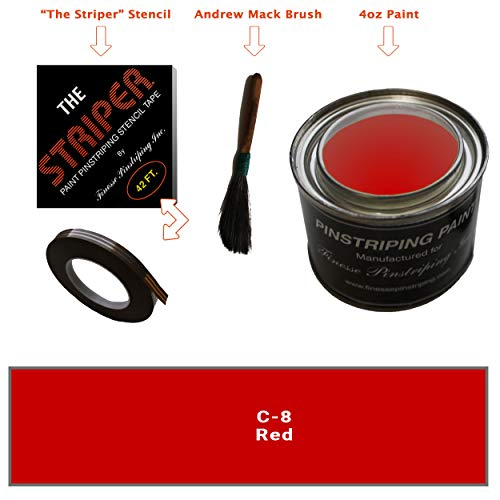 Automotive Pinstriping KIT - Stencil/Brush/Paint - Pinstripe Your Car/Truck - Results: 3/16 inch Stripe, 1/4 inch Space, 1/16 inch Stripe (Red, 42 Foot roll)