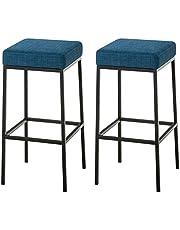 CLP Montreal 85 Set van 2 barkrukken - Stof, Kleur:blauw, Framekleur:zwart