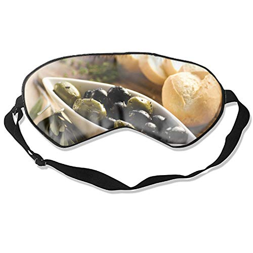 Silk Sleep Mask Olives Black Green Bread Baguette Plate Table Leaf Eye Mask for Sleeping Soft Sleeping Mask Adjustable Blindfold Eyeshade for Men Women Kids