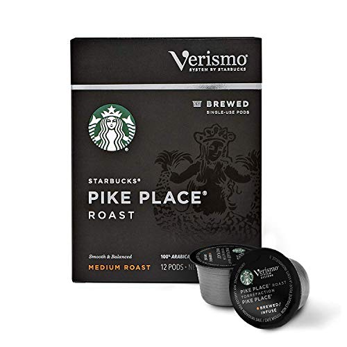 Starbucks Verismo Pike Place Roast Brewed Coffee Single-Serve Verismo Pods, Medium Roast, 6 boxes of 12 (72 total Verismo pods)