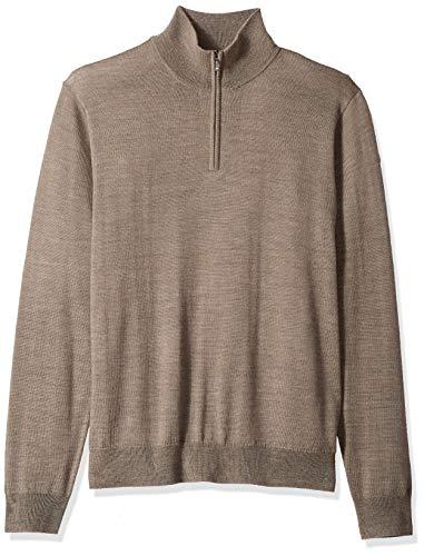 Goodthreads Men's Merino Wool Quarter Zip Sweater, Light Brown, Large ()