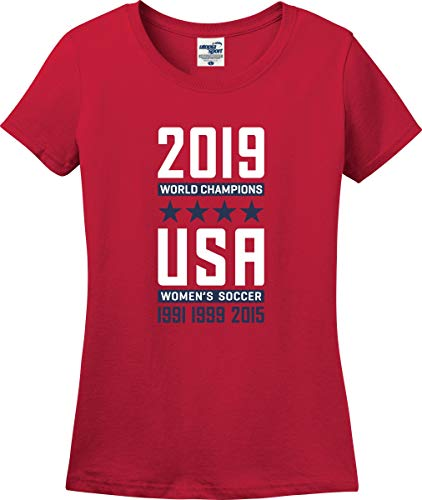 USA Women's Soccer 2019 World Champions Ladies T-Shirt (S-3X) (Ladies XX-Large, Red) (Fifa 16 Best Players)