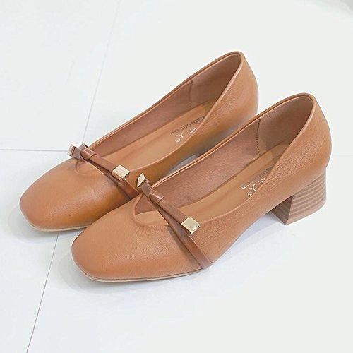 Verano Retro Beige Y 5 Citas Tamaño Lady tacón Amarillo Cabeza Color de Ocio CN35 Mujer Zapatos De Grueso Cuadrada Talón UK3 Zapatos Fiesta Primavera YIXINY EU36 CqF6xXwq