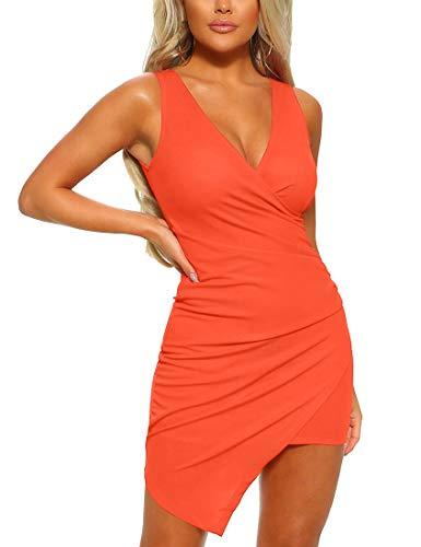 - Mizoci Women's Basic Casual Sleeveless Ruched Dresses Asymmetric Hem Bodycon Mini Sexy Party Dress,X-Large,Orange