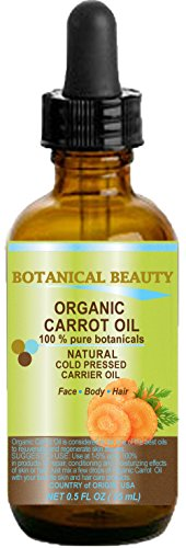 CARROT OIL Organic 100% Natural / Pure Botanicals / Cold Pressed Carrier Oil 0.5 Fl. oz. -15 ml. For Face, Body, Hair and Nail Care. by Botanical Beauty
