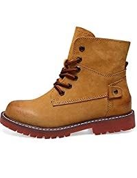 Zoule Women's Fashion Ankle Boots Lace Up Slip-Resistant Waterproof Combat Hiking Military Boots Outdoor Work Shoes