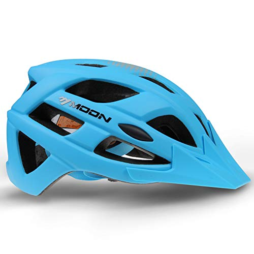 (MOON Bike Helmet for Road and Mountain Race Cycling with Detachable Visor, PC Integrally-Formed & High-Density EPS Foam Ultralight Bicycle Helmet)