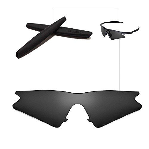 Walleva Replacement Lenses + Rubber For Oakley M Frame Sweep Sunglasses - 11 Options Available (Black Non-Polarized Lenses + Black Rubber)