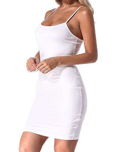 Tirantes Delgado Fiesta 01 Falda Sin Mujer Verano Ajustado Casual Vestido blanco Backless Mangas Auxo qzf1U0