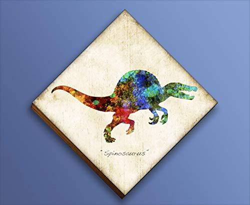 Spinosaurus Dinosaur Diamond Shaped Mounted Art Print by Dan Morris