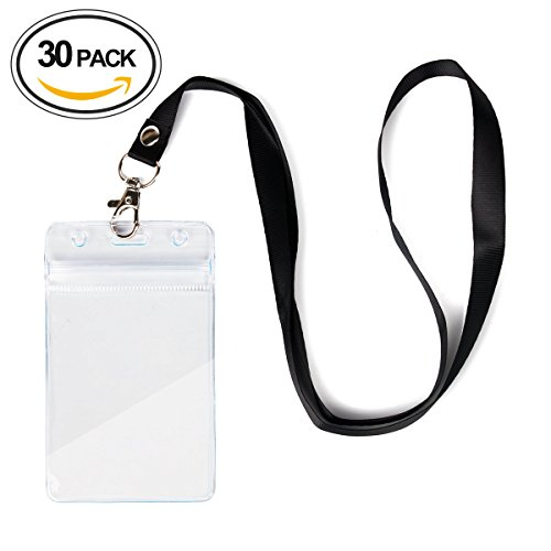 30 Pcs Waterproof Vertical ID Card Badge Holder With 0.6i...