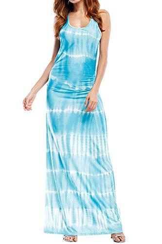 WIWIQS Ombre Tank Strips Women`s Tank Long Dye Blue Dress Tie Top Dress Maxi Casual Dress Light nrSrfHWRw