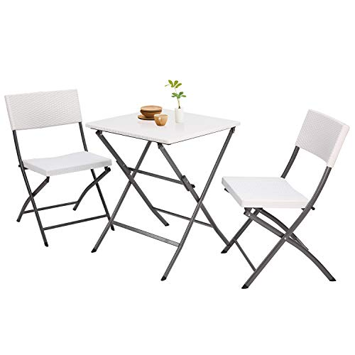 5Rcom 3 Piece PE Rattan Patio Bistro Sets,Outdoor Patio Furniture Weather Resistant,Foldable Garden Table and Chairs,Perfect for Balcony, Patio, White (White Chairs Rattan Outdoor)