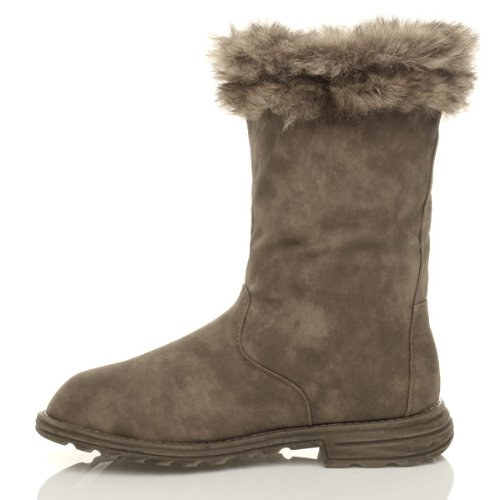 Womens ladies girls flat low heel winter calf fur lined snow elastic button boots size Taupe Khaki Brown GiHIcbAgt