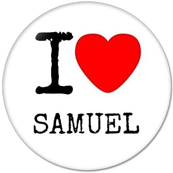 I Love Samuel nombre abridor de botellas redondo botón insignias con imán para frigorífico, nuevo