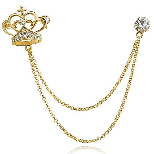Shape Rhinestone Brooch - DMI Unique Jewelry Rhinestone Beautiful Crown Shape Chain Brooch pin Gold-Tone