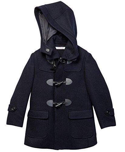 Isaac Mizrahi Boy's CT1004 Solid Wool Toggle Coat With Removble Hood - Navy - 2