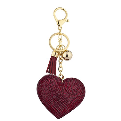 (Lux Accessories Red Gold Tone Sticker Stone Studded Heart Keychain Bag Charm)