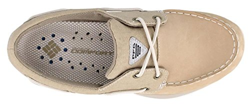 Columbia Men's, Boatdrainer Fly PFG Boat Shoe British Tan, Stone
