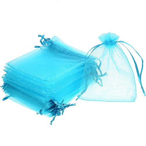 Mudder 50 Pack Organza Gift Bags Wedding Party Favor Bags Jewelry Pouches Wrap, 4 x 4.72 Inches (Aqua Blue)