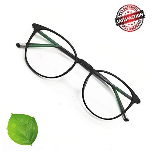 Reading Glasses Round Computer Readers for Women Men Eyeglasses Frames for Prescription Lens (A. Black, 4.00)