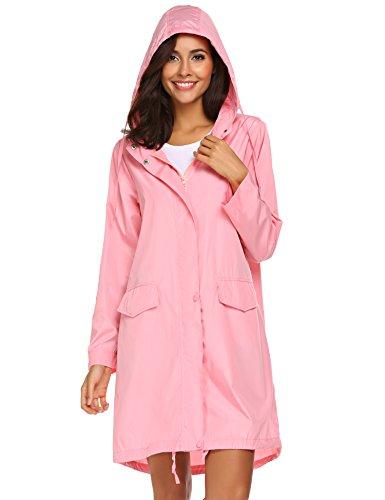Teewanna Women Waterproof Rain Jacket Hoodie Windproof Outdoor