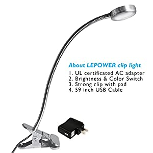LEPOWER Super Bright Clip on Light/ Light Color Changeable/ Night Light Clip on for Desk, Bed Headboard and Computers (Silver) from LEPOWER