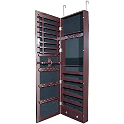 Lockable Jewelry Cabinet (Wall or Door Mount) with Full Length Mirror (Espresso Brown) Jewelry Armoire Organizer