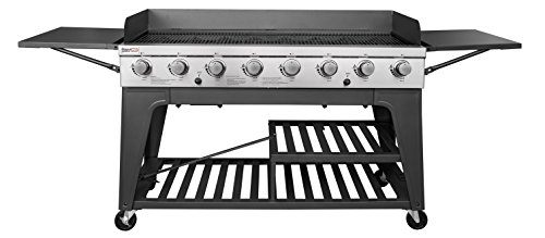 Royal Gourmet 8-Burner Liquid Propane Event Gas Grill, BBQ, Picnic, or Camping Outdoor, Black (Wheels Big With Bar Cart)