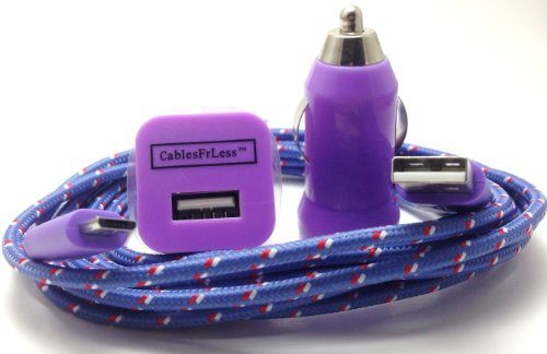 CablesFrLess (TM) 3 in 1 10ft (10 feet 10') Braided High Quality Durable Micro B USB Charging Kit fits Android Samsung Galaxy HTC LG Pantech Blackberry Motorola Sony ZTE (Purple)