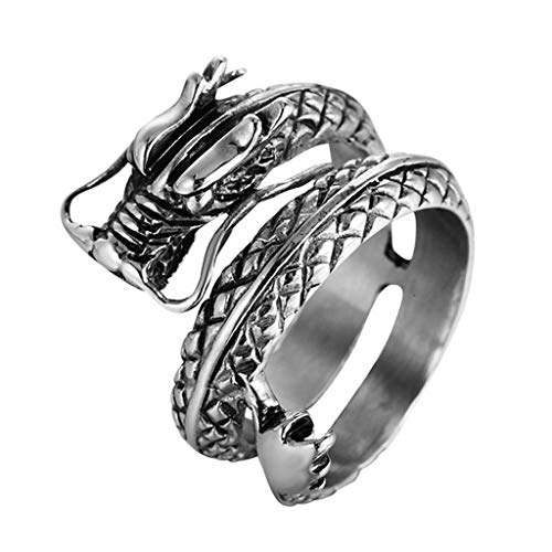 XBKPLO Rings for Men Vintage Silver China Dragon Gorgeous Sculpture Wind Knuckle Brilliant Jewelry Wedding Band Size -12