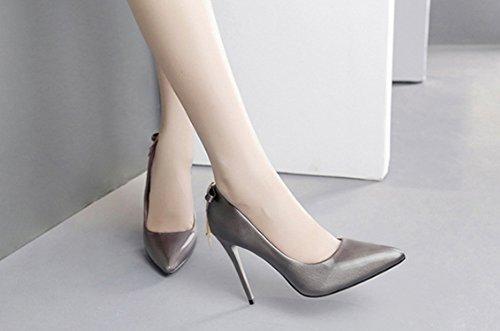 Hohe Weibliche Einzelne Farbe 38 Schuhe Gun dünne Nightclub LBDX Schuhe Herbst Ferse Version Koreanische Spitzehohe größe Color Fxg71qEw8