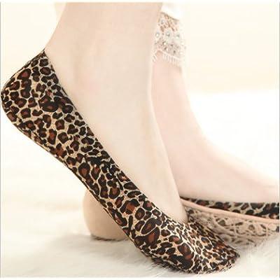 Maivasyy 5 paires de chaussettes Printemps et été Motif léopard en soie de glace d'été Mesdames Invisible voile transparent en silicone ultra léger Anti-Skid Chaussettes Femme chausse