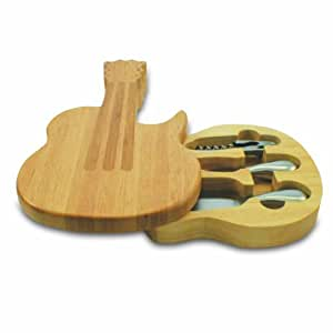 Picnic Time Guitar Original Design Cheese Board with Cheese Tools